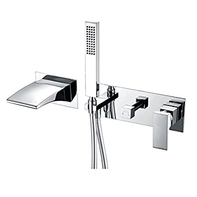 SUMERAIN Wall Mount Tub Faucets, Waterfall Tub Filler Spout with Hand Shower