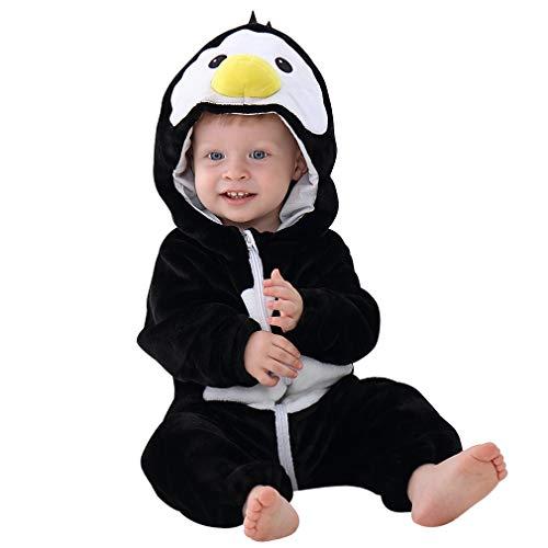 MICHLEY Disfraz Animal bebe niño y niña body pijama ropa, Negro 6 a 12 meses