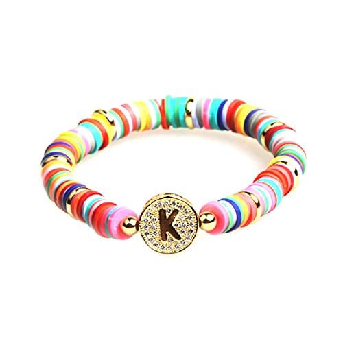 Letra Rainbow Charm Bracelet Hombres Mujeres Moda 26 Alfabetos CZ Strand Gold Name Pulseras para Mujeres Parejas Joyería