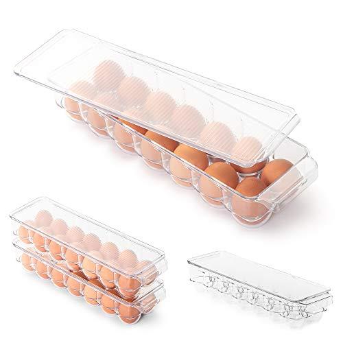 Smart Design Stackable Refrigerator Carton Bin Holder - Egg 1465 x 325 Inch - BPA Free Plastic Container - for Fridge Freezer Pantry Organizer - Kitchen Organization Clear - Set of 4
