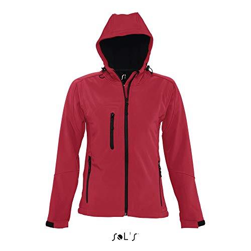 Sol'S Replay - Softshell Femme à Capuche - Veste zippée à Manches Longues imperméable et Respirante - Rouge Piment - XL