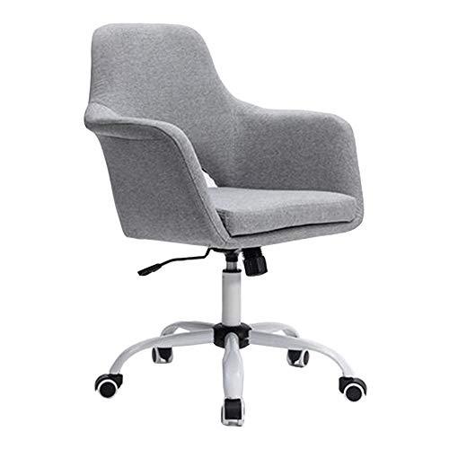 Stühle CJC Computertisch, Leder/Leinen Bürostühle Bequem Gepolstert Verstellbare Höhe 360-Grad-Schwenker Hochwertige Chrombasis (Color : Gray)
