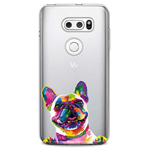 Cavka TPU Case Replacement for LG G8 ThinkQ G7 Fit G6 V60 5G V50 V40 V35 V30 Plus W30 Cute French Bulldog Flexible Silicone Print Colored Dog Design Slim fit Soft Cute Funny Animals Clear Girls Paws