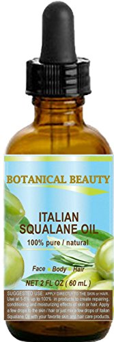 SQUALANE Italian Olive. 100% Pure/Natural/Undiluted Oil. 2 fl.oz- 60ml. 100% Ultra-Pure Moisturizer for Face, Body & Hair. Reliable 24/7 skincare protection. by Botanical Beauty.