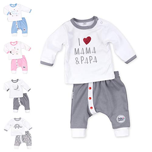 Baby Sweets Unisex 2er Baby-Set mit Hose & Shirt für Mädchen & Jungen/Baby-Erstausstattung in Grau & Weiß mit Mama-Papa-Motiv/Baby-Kleidung aus Baumwolle in Größe 1 Monate (56)