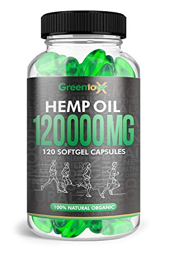Hemp Seed Oil -1000mg per Capsule 120ct, Rich in Omega 3, 6, 9 100% Natural Organic, Made in USA - for Man & Woman, Supports - Pain, Stress & Anxiety, Sleep, Mood, Hair, Skin Nails, More