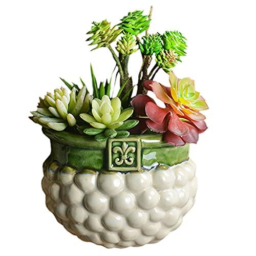 yywl Maceteros Mediterráneo Cerámica Cerámica Hang Flowerpot Ornamentos Estilo hogar TELEVISOR Dormitorio de Fondo Plantas suculentas Decoración de la Pared Colgante (Farbe : D-Just Vase)