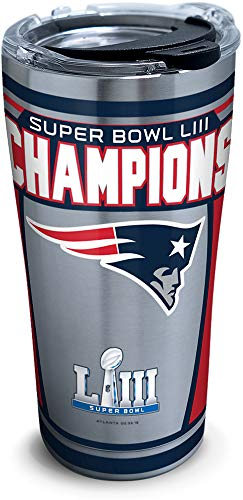 Tervis NFL New England Patriots Super Bowl 53 Champions Stainless Steel Insulated Tumbler with Lid, 20 oz, Silver