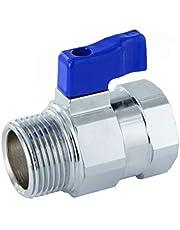 "Mini-kogelkraan met verminderde doorgang, hendel en binnendraad/buitenschroefdraad, 3/8"", blauw, 1"