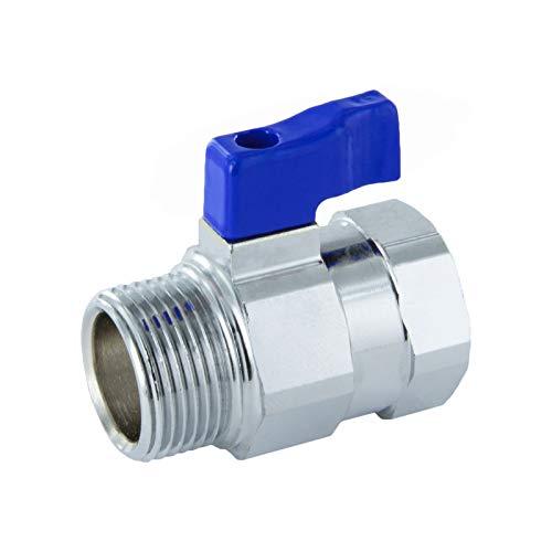 Mini rubinetto a sfera con passaggio ridotto con impugnatura ad ala e filettatura interna/filettatura esterna., 3/8', Blu, 1