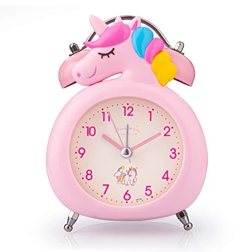 Reloj despertador para niñas, silencioso, con luz nocturna y alarma fuerte, fácil de configurar y funciona con pilas, lindo unicornio doble campana decorativa para niñas, estudiantes dormitorio rosa