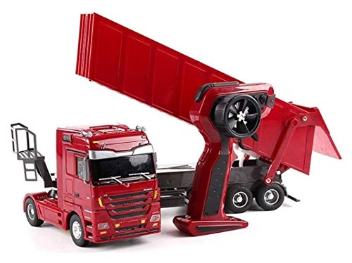 YYQIANG Niños buggy coche rc camión ingeniería tractor control remoto control plano semirremolque frotable luces desmontable cargador de sonido modelo niños electrónica hobby juguete eléctrico coche r