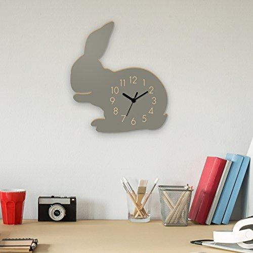 Wanduhr Hase-Grau, Kinderuhr, Uhr für Kinderzimmer