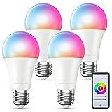 MMcRRx Alexa Smart lampen E27,Rgb Wlan Glühbirne Kompatibel mit Alexa Google...