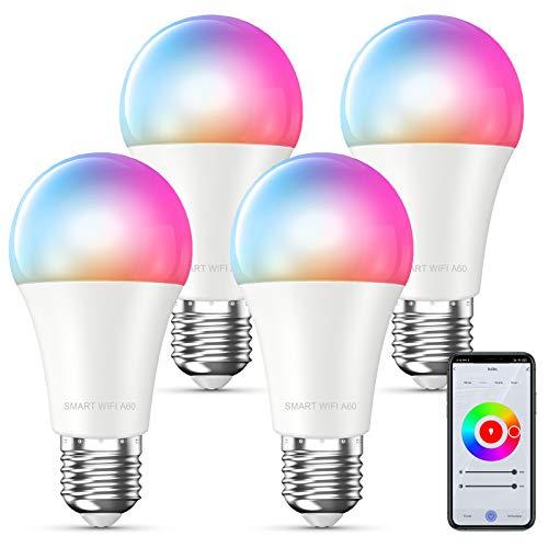 MMcRRx Alexa Smart bombilla led E27, bombilla led wifi inteligente Compatible con Alexa Google Home Echo, 850 LM,luces cálidas Cambio de color, con control de aplicación,regulable,no requiere entrada