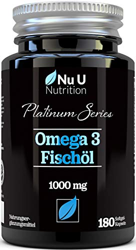 Omega 3 Fischöl 1000mg doppelte Stärke EPA & DHA Softgel-Kapseln | Omega 3 6 9 | 180 (Vorrat für 6 Monate) Premium Fischöl-Kapseln 1000mg | hergestellt in GB von Nu U Nutrition