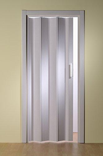 Kunststoff - Falttür Esche weiß ohne Fenster 88,5x202 cm doppelwandig