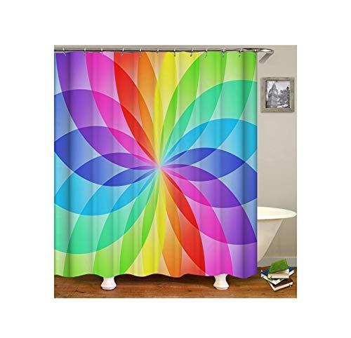 Bishilin Antischimmel Duschvorhang 90x180 Bunten Blumenmuster Badezimmer Duschvorhang Polyester-Stoff