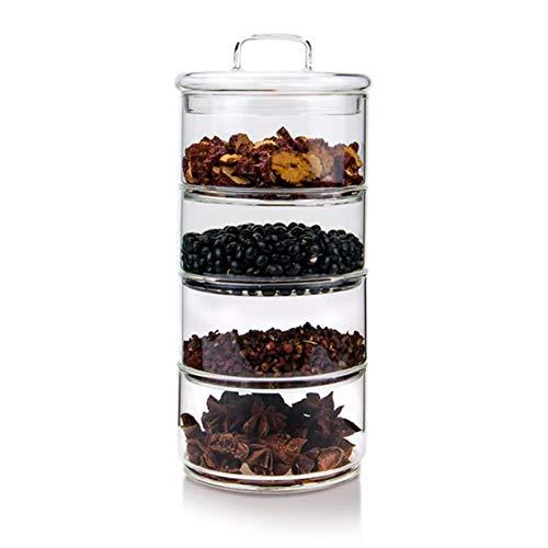 Webuyii - Tarros de cristal con tapas, apilables de varios niveles, recipientes de cocina y alimentos herméticos, tarros de vidrio herméticos, 4 niveles