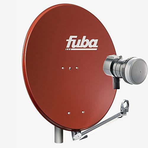 Fuba 1 Teilnehmer Sat Anlage DAL 801 R   Sat Komplettanlage mit Fuba DAL 800 R Alu Sat-Schüssel/Sat-Spiegel ziegelrot + Fuba DEK 117 Single LNB für 1 Receiver/Teilnehmer (HDTV-, 4K- und 3D-kompatibel)