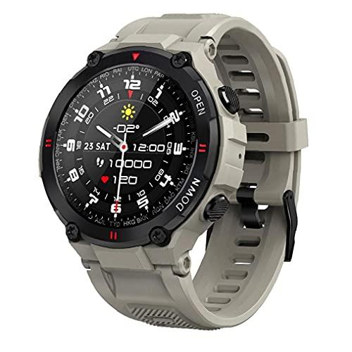 Reloj inteligente portátil reloj deportivo a prueba de agua con rastreador de fitness de ritmo cardíaco Bluetooth llame a la pantalla táctil completa compatible con Android iOS gris