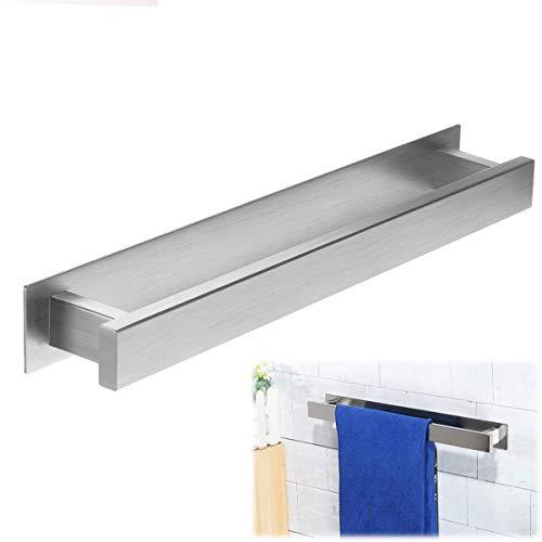 LIUMY Handtuchhalter im Bad, 2PCS SET ( Badetuchhalter Edelstahl mit + Schnelltrocknender Leim)Handtuchstange Selbstklebend 40*4.5*4CM
