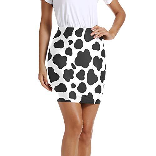 Womens Mini Short Bodycon Pencil Skirt Cow Dot Print