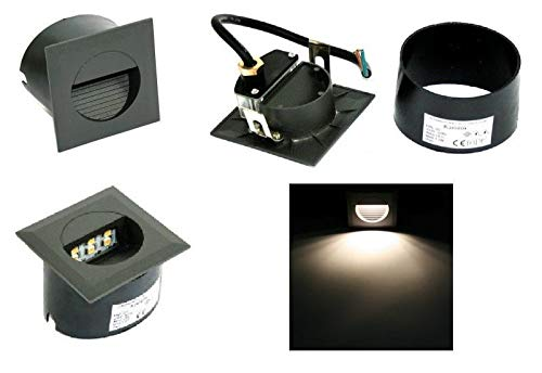 9er LED Wand Treppen Stufen Wege Dauer Nachtlicht Einbau Spot Strahler Lina Aluminium 230V 1,2 Watt IP65 EEK: A+ Lichtfarbe: Kaltweiss Montagedose witterungsbeständig Zuleitung: 15cm Kabel