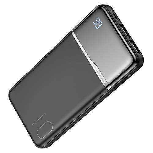 Powerbank 10000mAh mit LED Anzeige 2 USB Output Ultra Dünn Klein Tragbares Ladegerät Power Bank Externer Akku mit Kabel Pack für iPhone, Samsung, Huawei (Schwarz)