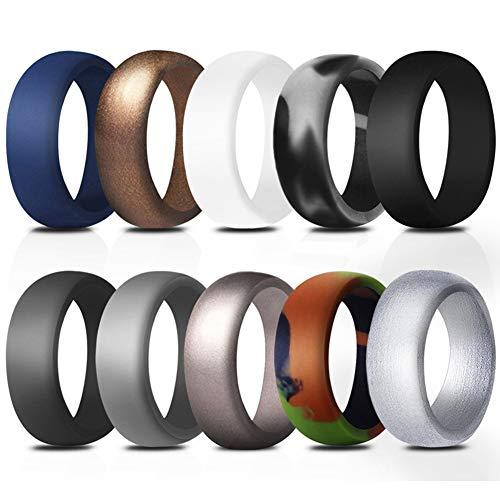 JewelryWe Schmuck 10 PCS Silikon Eheringe für Männer, 8.7mm Gummi Hochzeit Bands Gummibänder Ringe für Sport und Outdoor, 10, Größe 65