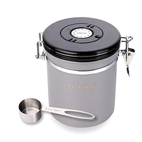 Schramm® Kaffeedose 1500 ml in 10 Farben mit Dosierlöffel Höhe: 15cm Kaffeedosen Kaffeebehälter aus Edelstahl, Farbe:grau