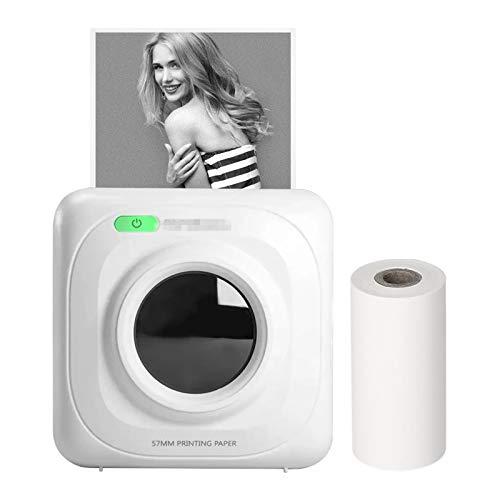 Impresora de Bolsillo Impresora De Bolsillo De 200DPI BT Impresora Térmica Inalámbrica Compatible Con Android IOS para Impresión en Papel Fotográfico ( Color : White , Size : 8.3*8.3*4.5cm )