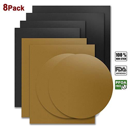 Dauerbackfolie 8er Set, LFGB Genehmigt Das Premium Backpapier Backofenmatte – Wiederverwendbar Hitzebeständig Antihaftbeschichtet Zuschneidbar und Spülmaschinenfest (10 x Eckig, 2 x Springform Rund)