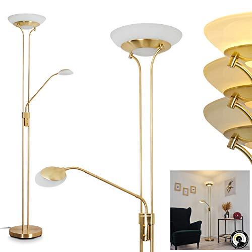 LED Stehleuchte Mairoa, Bodenlampe aus Metall in Messing, moderne Stehlampe mit An-/Ausschalter am Gehäuse und stufenlos dimmbar, 1 x LED 27 Watt, max. 3150 Lumen, 3000 Kelvin, mit Lesearm