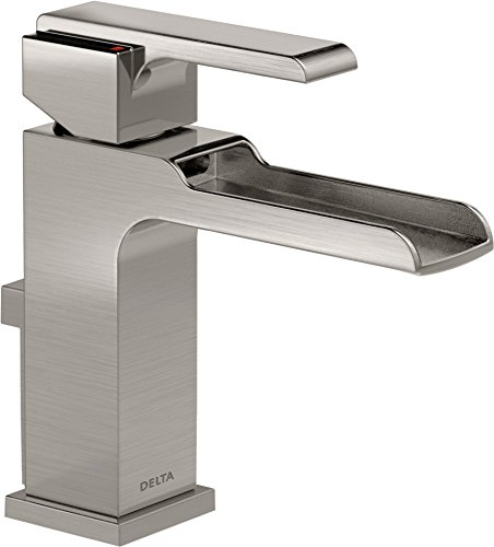 Delta Faucet Ara Single Hole Bathroom Faucet Brushed Nickel, Waterfall Faucet, Single Handle, Metal Drain Assembly, Stainless 568LF-SSMPU
