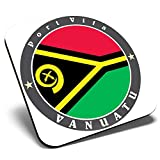 Great Single Coaster Square - Vanuatu Port Vila Flag Travel Stamp  Glossy Quality Coasters   Tabletop Protection for Any Table Type #5085