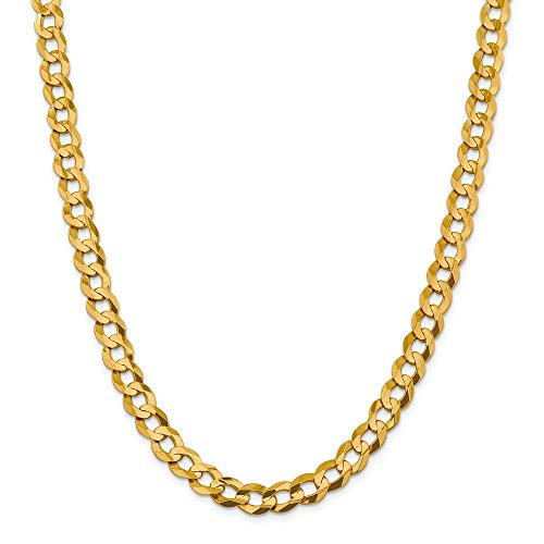 14k Yellow Gold 9.4mm Lightweight Flat Cuban Chain Necklace 24 Inch Pendant Charm Curb Miami Fine Jewellery For Women Gifts For Her