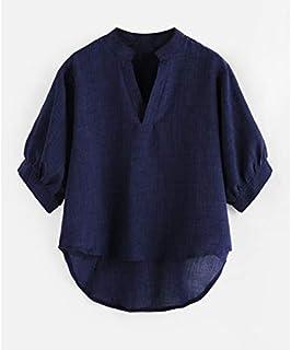 LICHONGGUI AU Front Short Back Long Loose Shirt (Color : Navy Blue, Size : S)