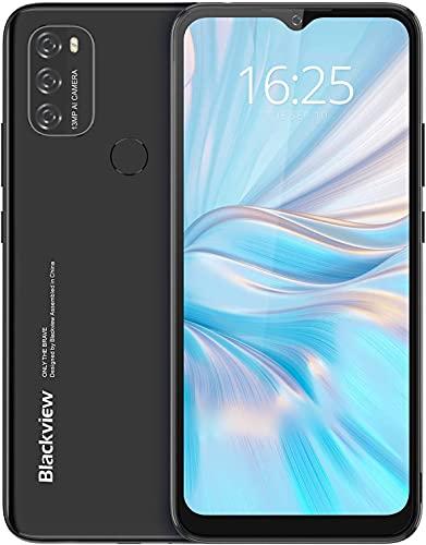 Android 11 Teléfono Móvil Libres, Blackview A70 5380mAh Baterí Octa-Core 3GB+32GB 256GB Ampliables, 4G Smartphone 6,52 Pulgadas Triple Cámara 13MP+5MP, Huella Digital/Face ID/GPS/FM (Negro)