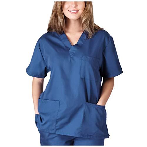 Zilosconcy Arbeitskleidung Unisex Kurzarm T-Shirts V-Ausschnitt Tops Pflege Medizin Arzt Uniform Berufsbekleidung Krankenschwester Kleidung Damen Uniformen Oberteil mit Tasche BlauXL