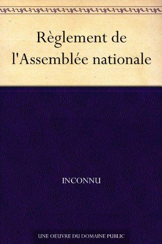 Couverture du livre Règlement de l'Assemblée nationale