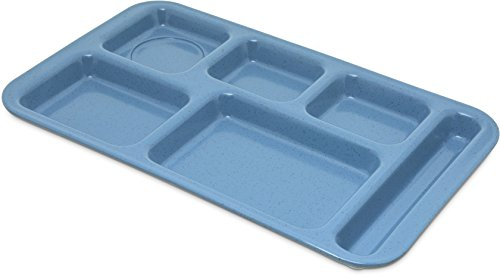 Carlisle 4398392 Right-Hand Space Saver 6-Compartment Cafeteria / Fast Food Tray, 9' x 15', Sandshade (Pack of 12)