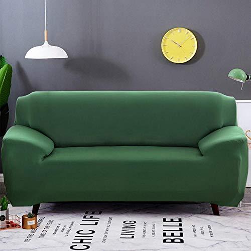 XCVBSofa-hoes Effen kleur Elastische bankhoes All-inclusive kussenovertrekken 1/2/3/4 zits Moderne hoekbank Bank Hoes stoelbeschermer, donkergroen