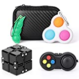 Fidget Pack Toys Set Simple Dimple, Fidget Pad Controller, Infintiy Cube, Push Bubble,Sensory Anti Anxiety Stress Relief Silicone Desk Toys, Fidget Gadget, Party Favours Gifts For Kids Adults (4 Pack)