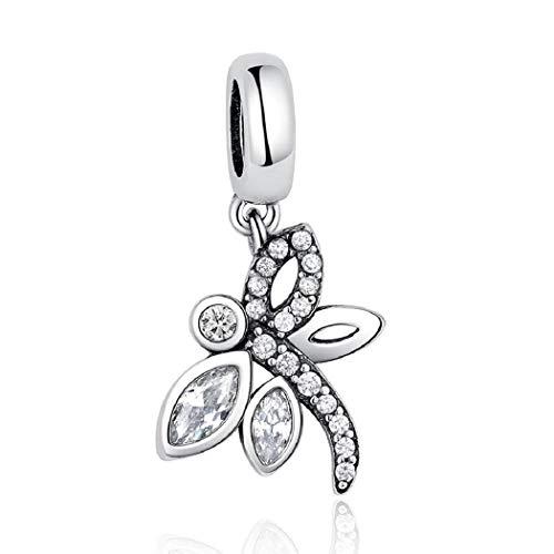 FeatherWish - Ciondolo a forma di libellula in argento Sterling 925 con ciondolo a forma di animale con ali di cristallo e zirconia cubica, adatto a braccialetti o collane Pandora