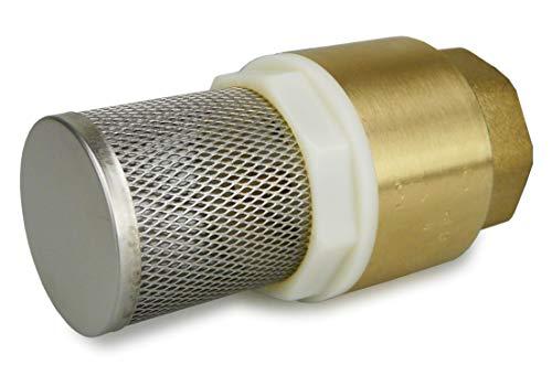 SMARDY Messing Fußventil mit Rückschlagventil und Saugkorb 1 Zoll IG zum Anschluss an Pumpen