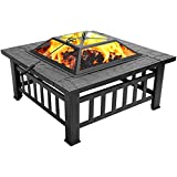 Outdoor Fire Pit with Spark Screen Log Poker and Cover, 3 In 1 Square Table Backyard Patio Garden Stove Wood Burning Heater/Ice Pit, Metal Firepit for Outside Garden Camping Barbecue