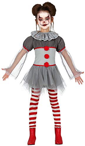 Girls Bad Horror Clown Scary Creepy Halloween Film Fancy Dress Costume Outfit 3-12 Years (7-9 Years) Grey