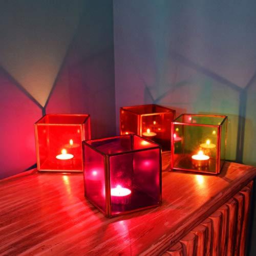 4er Set Orientalisches Glas Windlicht Alisar 10cm groß Bunt | Orientalische Glas Teelichthalter orientalisch | Marokkanische Windlichter aus Eisen als Dekoration | 4 Stück