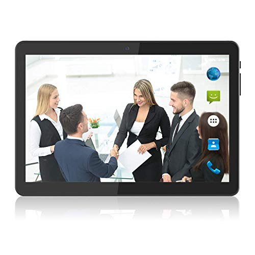 Tablet 10 inch Android 9.0 Pie, Quad-Core, Google Certified, 3G Unlocked Phone Tablets PC with Dual SIM Card Slots & Cameras & Speakers, 2+32GB, 1280×800 Full Display, WiFi, Bluetooth, GPS, FM, Black
